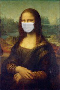 Corona Infos Zahnarztpraxis Hinteregger Mona Lisa mit Mundschutz