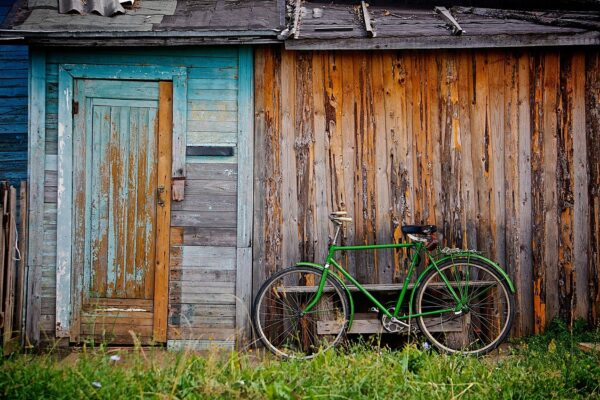 shed, bicycle, hut